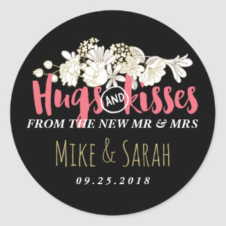 Hugs Kisses Mr and Mrs Floral Wedding Sticker