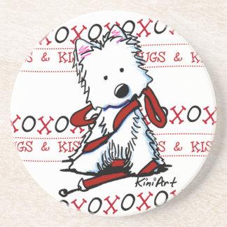 HUGS & KISSES Westie Dog Coaster