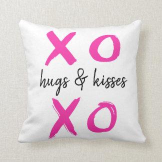 Hugs & kisses, xoxo, Valentine's, pink Cushion
