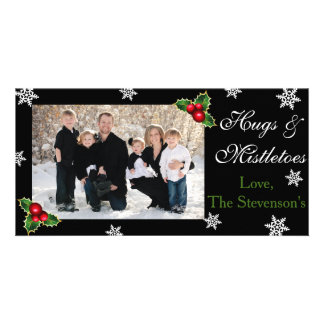Hugs & Mistletoes Christmas Personalised Photo Card