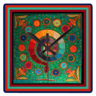 Huichol Peyote Ritual Wall Clock