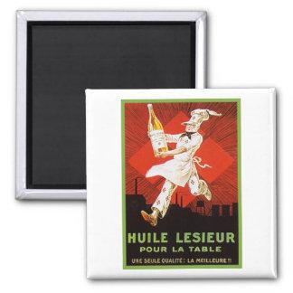 Huile Lesieur Vintage Ad Square Magnet