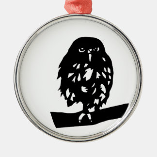 hukurou the wax OWL cutting picture luck opening l Silver-Colored Round Decoration