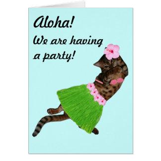Hula Aloha Cat Card