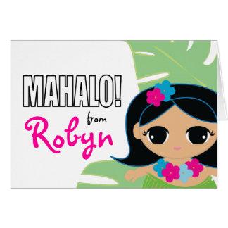 hula cutie BIRTHDAY luau thank you card 1