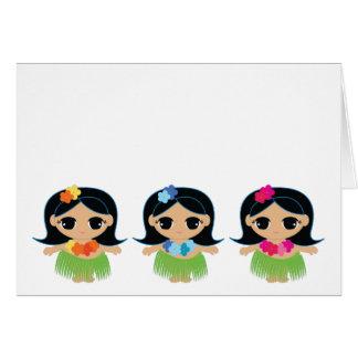 hula cutie BIRTHDAY thank you 2 Greeting Cards