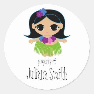 hula cutie BOOKPLATE book label Round Sticker