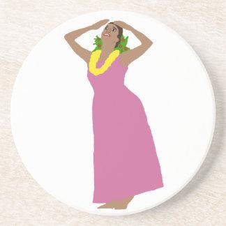 Hula dance arrayed in Pink Coaster