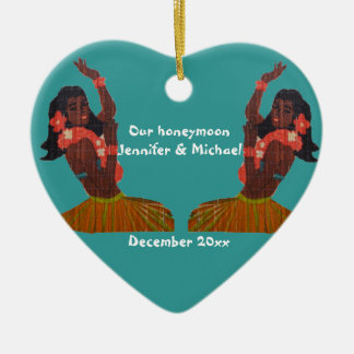 Hula Dancer Aloha Honeymoon Souvenir Ceramic Ornament