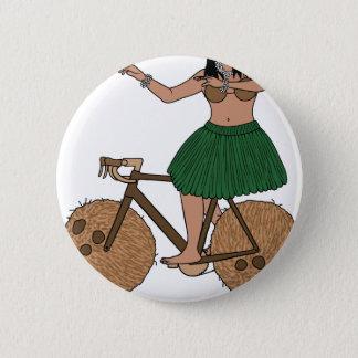 Hula Dancer Riding Bike With Coconut Wheels 6 Cm Round Badge