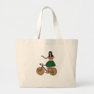 Hula Dancer Riding Bike With Coconut Wheels Large Tote Bag