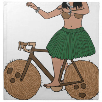 Hula Dancer Riding Bike With Coconut Wheels Napkin
