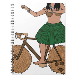 Hula Dancer Riding Bike With Coconut Wheels Notebooks