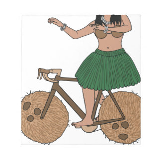 Hula Dancer Riding Bike With Coconut Wheels Notepad
