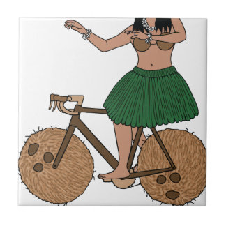 Hula Dancer Riding Bike With Coconut Wheels Tile