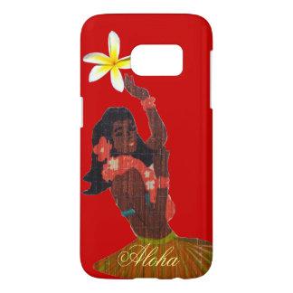 Hula Dancer Tropical Plumeria on red