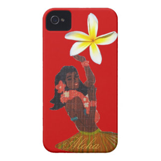Hula Dancer with Tropical Plumeria iPhone 4 Case-Mate Case