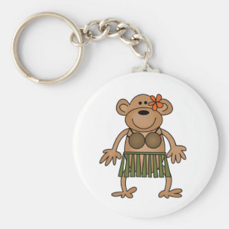 Hula Dancing Monkey Basic Round Button Key Ring