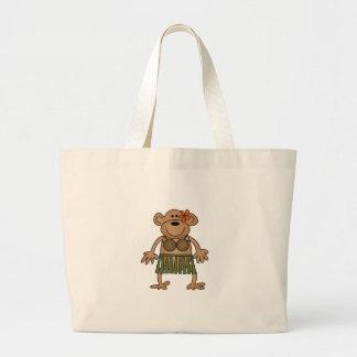 Hula Dancing Monkey Jumbo Tote Bag