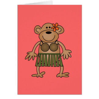 Hula Dancing Monkey Tshirts and Gifts Card