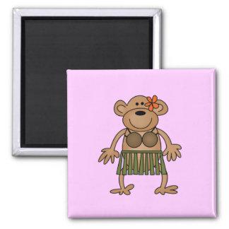Hula Dancing Monkey Tshirts and Gifts Square Magnet
