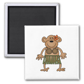 Hula Dancing Monkey Tshirts and Gifts Square Magnet