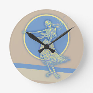 Hula Death Luau Round Clock
