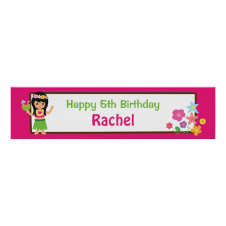 Hula Girl Hawaiian Themed Birthday Party Banner Poster