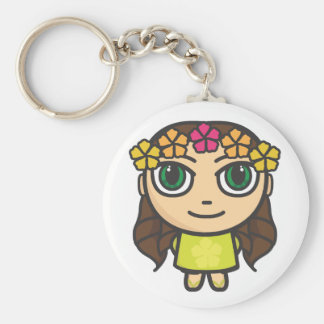 Hula Girl in Yellow with Green Eyes Key Chain
