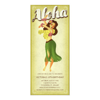 Hula Girl Luau Party Invitations
