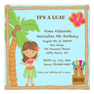 Hula Girl Luau Square Birthday Invitation