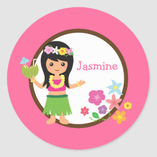 Hula Girl Luau Themed Party Favors Round Sticker