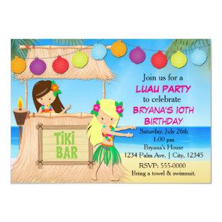 "Hula girls beach tiki birthday party invitation 4.5"" x 6.25"" invitation card"