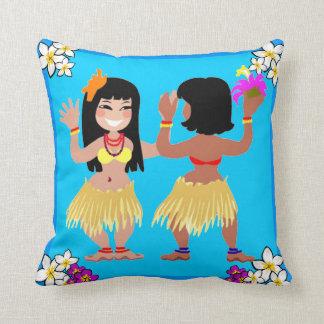 Hula Girls Dancing On Light Blue Pillow