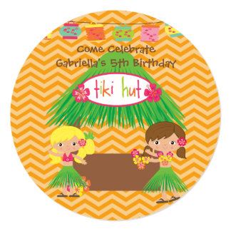 Hula Girls Tiki Hut Round Luau Birthday Invitation