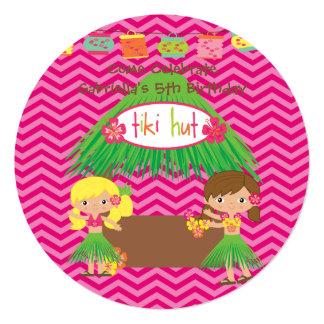 Hula Girls Tiki Hut Round Luau Birthday Invitation
