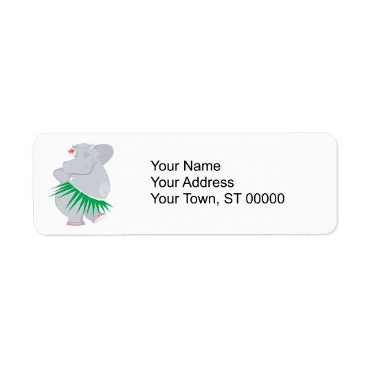 hula hippo return address label