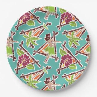 """Hula Honey - Aqua - 9"""" Paper Plate"""