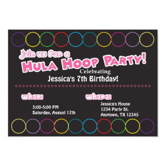Hula Hoop Birthday Party Information Card