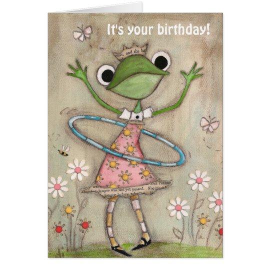 Hula Hoop Frog - Birthday Card