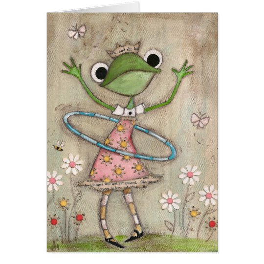 Hula Hoop Frog (version 2) - Birthday Card