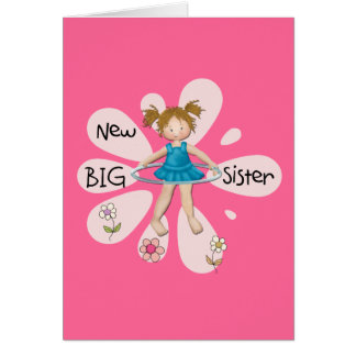 Hula Hoop New Big Sister Greeting Card