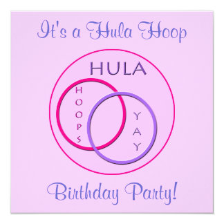 Hula Hoop Pink Purple Kids Birthday Party Card
