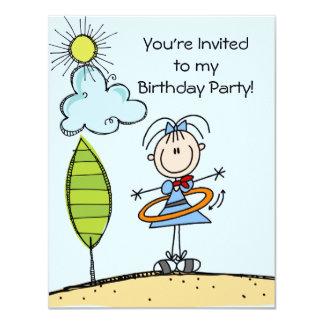 Hula Hoop Stick Figure Girl Birthday Invites