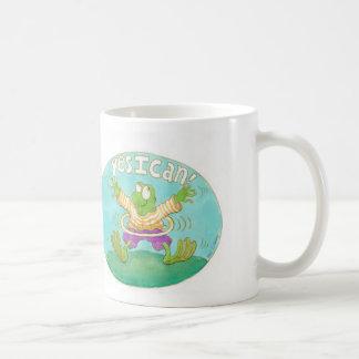 "hula hooping frog says ""YES I CAN!"" Mugs"
