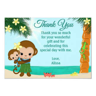 "Hula Monkey Baby Shower Thank You BOY 3.5""x 5"" Card"