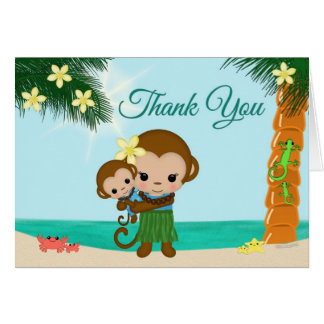 Hula Monkey BOY Baby shower Thank You note card #1