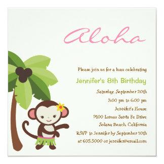Hula Monkey Luau Party Invitation