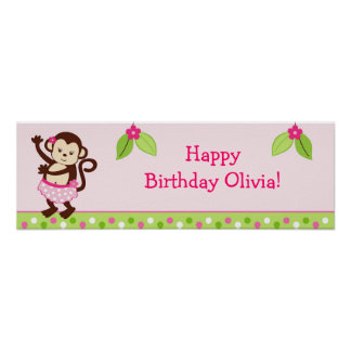 Hula Monkey Luau Personalized Birthday Banner Poster