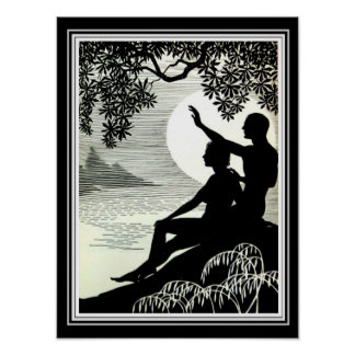 """Hula Moons"" Art Deco Print 12 x 16"